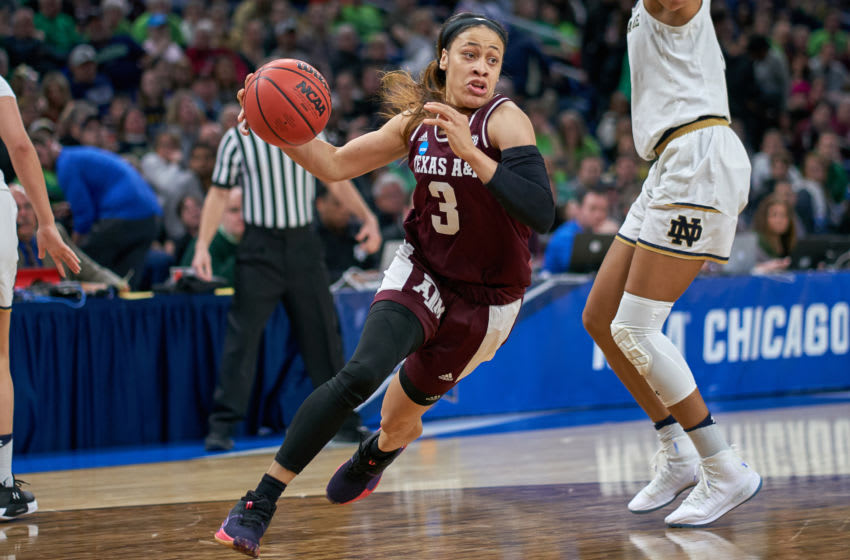 CHICAGO, IL - MARCH 30: Texas A&M Aggies guard Chennedy Carter (3) dribbles the ball in game action during the Women's NCAA Division I Championship - Third Round game between the Notre Dame Fighting Irish and the Texas A&M Aggies on March 30, 2019 at the Wintrust Arena in Chicago, IL. (Photo by Robin Alam/Icon Sportswire via Getty Images)