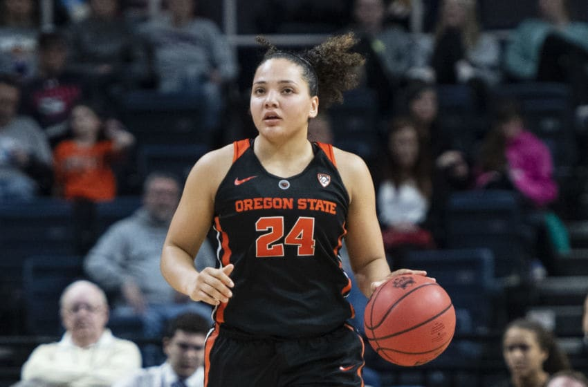 ALBANY, NY - MARCH 29: Oregon State Beavers Guard Destiny Slocum (24) dribbles the ball up the court during the first half of the game between the Oregon State Beavers and the Louisville Cardinals on March 29, 2019, at the Times Union Center in Albany NY. (Photo by Gregory Fisher/Icon Sportswire via Getty Images)