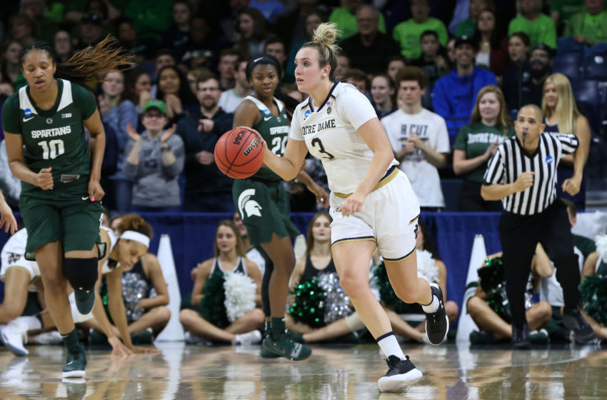 SOUTH BEND, IN - MARCH 25: Notre Dame Fighting Irish guard Marina Mabrey (3) brings the ball up the court during the NCAA Division I Women's Championship second round basketball game between the Michigan State Spartans and the Notre Dame Fighting Irish on March 25, 2019 at Purcell Pavilion in South Bend, Indiana. (Photo by Scott W. Grau/Icon Sportswire via Getty Images)