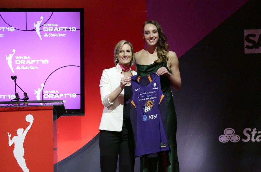 NEW YORK, NY - APRIL 10: Cristy Hedgpeth poses with Alanna Smith after being drafted eighth overall by the Phoenix Mercury during the 2019 WNBA Draft on April 10, 2019 at Nike New York Headquarters in New York, New York. NOTE TO USER: User expressly acknowledges and agrees that, by downloading and/or using this photograph, user is consenting to the terms and conditions of the Getty Images License Agreement. Mandatory Copyright Notice: Copyright 2019 NBAE (Photo by Steven Freeman/NBAE via Getty Images)