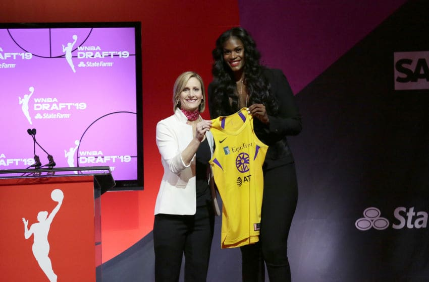 NEW YORK, NY - APRIL 10: Cristy Hedgpeth poses with Kalani Brown after being drafted seventh overall by the Los Angeles Sparks during the 2019 WNBA Draft on April 10, 2019 at Nike New York Headquarters in New York, New York. NOTE TO USER: User expressly acknowledges and agrees that, by downloading and/or using this photograph, user is consenting to the terms and conditions of the Getty Images License Agreement. Mandatory Copyright Notice: Copyright 2019 NBAE (Photo by Steven Freeman/NBAE via Getty Images)