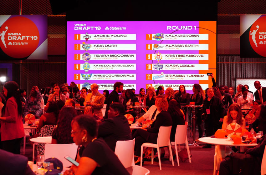 NEW YORK, NY - APRIL 10: A general view of the Round One Draft Board during the 2019 WNBA Draft on April 10, 2019 at the Nike Headquarters in New York, New York. NOTE TO USER: User expressly acknowledges and agrees that, by downloading and/or using this photograph, user is consenting to the terms and conditions of the Getty Images License Agreement. Mandatory Copyright Notice: Copyright 2019 NBAE (Photo by Melanie Fidler/NBAE via Getty Images)