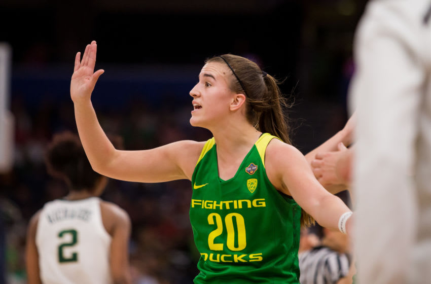 TAMPA, FL - APRIL 05: Oregon guard Sabrina Ionescu (20) plays in 2019 NCAA Women's National Semifinal Game One between the Oregon Ducks and the Baylor Bears at at Amelie Arena in Tampa, FL on on April 5. (Photo by Mary Holt/Icon Sportswire via Getty Images)