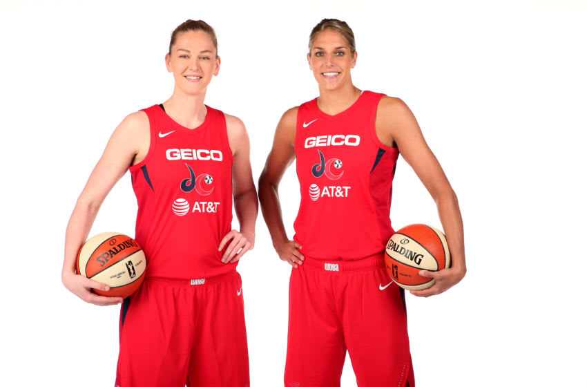 WASHINGTON, DC - MAY 6: Emma Meesseman #33 and Elena Delle Donne #11 of the Washington Mystics poses for a portrait during the 2019 WNBA Media Day at the St. Elizabeths East Entertainment and Sports Arena on May 6, 2019 in Washington, DC. NOTE TO USER: User expressly acknowledges and agrees that, by downloading and or using this photograph, User is consenting to the terms and conditions of the Getty Images License Agreement. (Photo by Ned Dishman/NBAE via Getty Images)