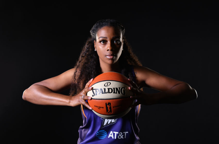 PHOENIX, AZ - MAY 20: Camille Little #20 of the Phoenix Mercury poses for portraits at The Phoenix Mercury Media Day on May 20, 2019 at Talking Stick Resort Arena in Phoenix, Arizona. NOTE TO USER: User expressly acknowledges and agrees that, by downloading and or using this Photograph, user is consenting to the terms and conditions of the Getty Images License Agreement. Mandatory Copyright Notice: Copyright 2019 NBAE (Photo by Barry Gossage/NBAE via Getty Images)