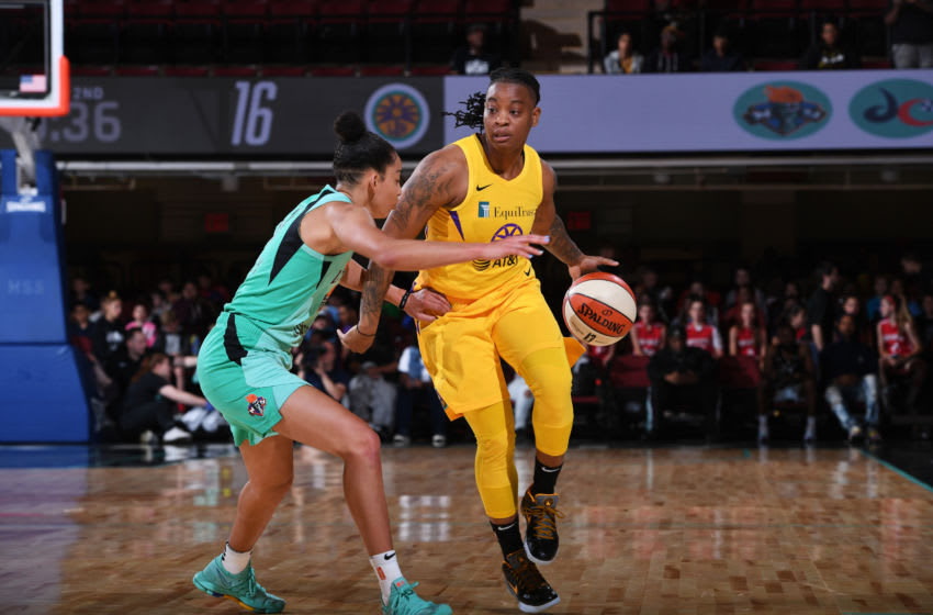 WHITE PLAINS, NY- JUNE 4: Riquna Williams #2 of the Los Angeles Sparks handles the ball against the New York Liberty on June 4, 2019 at the Westchester County Center, in White Plains, New York. NOTE TO USER: User expressly acknowledges and agrees that, by downloading and or using this photograph, User is consenting to the terms and conditions of the Getty Images License Agreement. Mandatory Copyright Notice: Copyright 2019 NBAE (Photo by Matteo Marchi/NBAE via Getty Images)