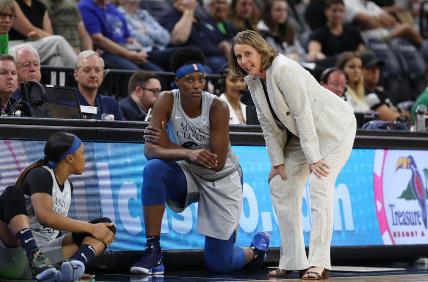 MINNEAPOLIS, MN - JUNE 22: Sylvia Fowles #34 of the Minnesota Lynx speaks with Assistant Coach Cheryl Reeve during the game on June 22, 2019 at Target Center in Minneapolis, Minnesota. NOTE TO USER: User expressly acknowledges and agrees that, by downloading and or using this Photograph, user is consenting to the terms and conditions of the Getty Images License Agreement. Mandatory Copyright Notice: Copyright 2019 NBAE (Photo by Jordan Johnson/NBAE via Getty Images)