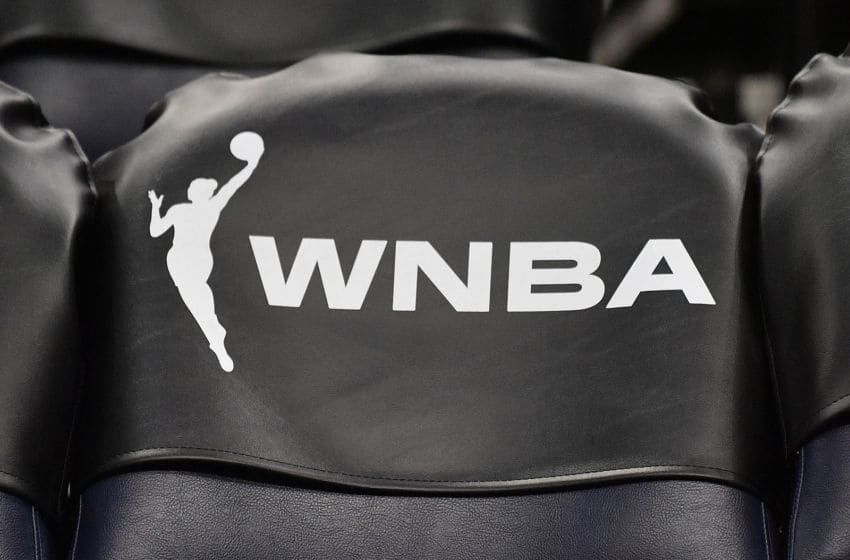 MINNEAPOLIS, MINNESOTA - MAY 25: The new WNBA logo is seen on a chair back during a game between the Minnesota Lynx and the Chicago Sky at Target Center on May 25, 2019 in Minneapolis, Minnesota. NOTE TO USER: User expressly acknowledges and agrees that, by downloading and or using this photograph, User is consenting to the terms and conditions of the Getty Images License Agreement. (Photo by Sam Wasson/Getty Images)