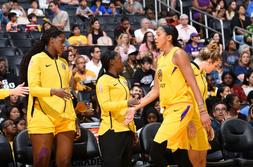 LOS ANGELES, CA - JUNE 30: Kalani Brown #21 high-fives Candace Parker #3 of the Los Angeles Sparks during the game against the Chicago Sky on June 30, 2019 at the Staples Center in Los Angeles, California NOTE TO USER: User expressly acknowledges and agrees that, by downloading and or using this photograph, User is consenting to the terms and conditions of the Getty Images License Agreement. Mandatory Copyright Notice: Copyright 2019 NBAE (Photo by Adam Pantozzi/NBAE via Getty Images)