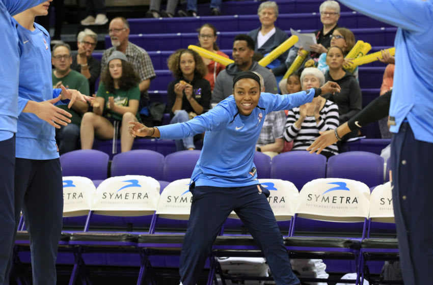 SEATTLE, WA - JULY 5: Renee Montgomery #21 of the Atlanta Dream is introduced before the game against the Seattle Storm on July 5, 2019 at Alaska Airlines Arena in Seattle, Washington. NOTE TO USER: User expressly acknowledges and agrees that, by downloading and/or using this photograph, user is consenting to the terms and conditions of the Getty Images License Agreement. Mandatory Copyright Notice: Copyright 2019 NBAE (Photo by Joshua Huston/NBAE via Getty Images)