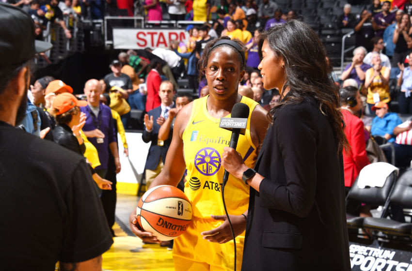 LOS ANGELES, CA - JULY 7: Chelsea Gray #12 of the Los Angeles Sparks speaks with the media after the game against the Washington Mystics on July 7, 2019 at the Staples Center in Los Angeles, California NOTE TO USER: User expressly acknowledges and agrees that, by downloading and or using this photograph, User is consenting to the terms and conditions of the Getty Images License Agreement. Mandatory Copyright Notice: Copyright 2019 NBAE (Photo by Juan Ocampo/NBAE via Getty Images)
