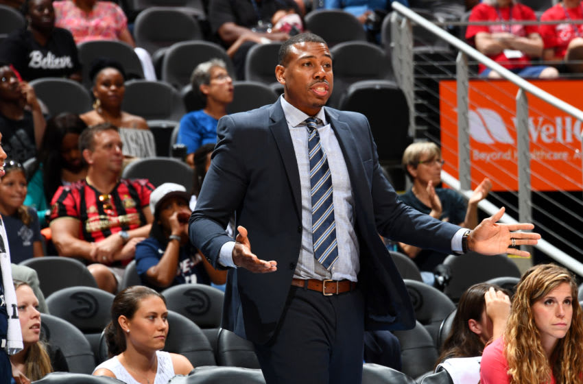 ATLANTA, GA - JULY 14: Assistant Coach Darius Taylor of the Atlanta Dream looks on during the game against the Los Angeles Sparks on JULY 14, 2019 at the State Farm Arena in Atlanta, Georgia. NOTE TO USER: User expressly acknowledges and agrees that, by downloading and or using this photograph, User is consenting to the terms and conditions of the Getty Images License Agreement. Mandatory Copyright Notice: Copyright 2019 NBAE (Photo by Scott Cunningham/NBAE via Getty Images)