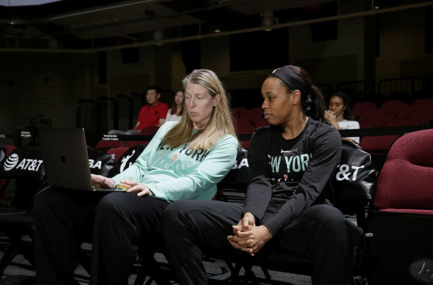 WHITE PLAINS, NY - AUGUST 4: Brittany Boyd #15 of the New York Liberty watch film before the game against the Connecticut Sun on August 4, 2019 at the Westchester County Center, in White Plains, New York. NOTE TO USER: User expressly acknowledges and agrees that, by downloading and or using this photograph, User is consenting to the terms and conditions of the Getty Images License Agreement. Mandatory Copyright Notice: Copyright 2019 NBAE (Photo by Steve Freeman/NBAE via Getty Images)