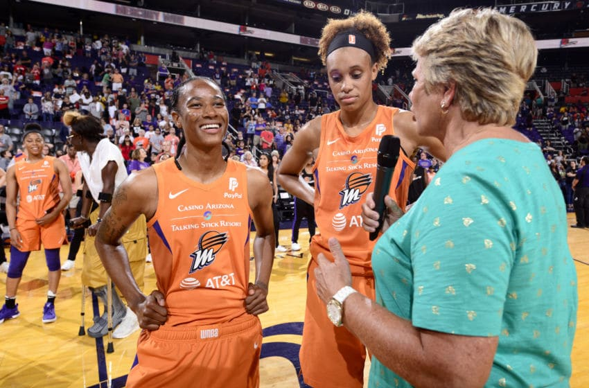 PHOENIX, AZ - AUGUST 4: Yvonne Turner #6 of the Phoenix Mercury smiles after the game against the Washington Mystics on August 4. 2019 at Talking Stick Resort Arena in Phoenix, Arizona. NOTE TO USER: User expressly acknowledges and agrees that, by downloading and/or using this photograph, user is consenting to the terms and conditions of the Getty Images License Agreement. Mandatory Copyright Notice: Copyright 2019 NBAE (Photo by Barry Gossage/NBAE via Getty Images)