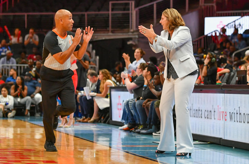 ATLANTA, GA AUGUST 06: Minnesota head coach Cheryl Reeve has words with referee Tim Greene during the WNBA game between the Minnesota Lynx and the Atlanta Dream on August 6th, 2019 at State Farm Arena in Atlanta, GA. (Photo by Rich von Biberstein/Icon Sportswire via Getty Images)