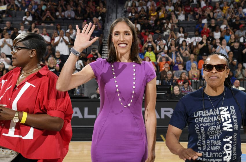 LAS VEGAS, NV - JULY 27: WNBA Legend Rebecca Lobo waves to the crowd during the AT&T WNBA All-Star Game 2019 on July 27, 2019 at the Mandalay Bay Events Center in Las Vegas, Nevada. NOTE TO USER: User expressly acknowledges and agrees that, by downloading and or using this photograph, user is consenting to the terms and conditions of the Getty Images License Agreement. Mandatory Copyright Notice: Copyright 2019 NBAE (Photo by Brian Babineau/NBAE via Getty Images)