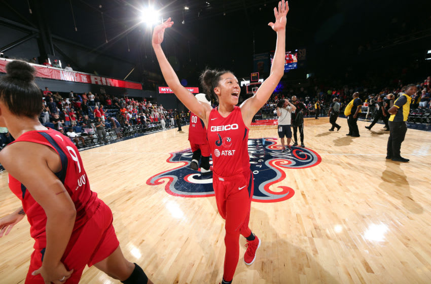 WASHINGTON, DC - AUGUST 11: Aerial Powers #23 of the Washington Mystics smiles after the game against the Minnesota Lynx on August 11, 2019 at the St. Elizabeths East Entertainment and Sports Arena in Washington, DC. NOTE TO USER: User expressly acknowledges and agrees that, by downloading and or using this photograph, User is consenting to the terms and conditions of the Getty Images License Agreement. Mandatory Copyright Notice: Copyright 2019 NBAE (Photo by Ned Dishman/NBAE via Getty Images)