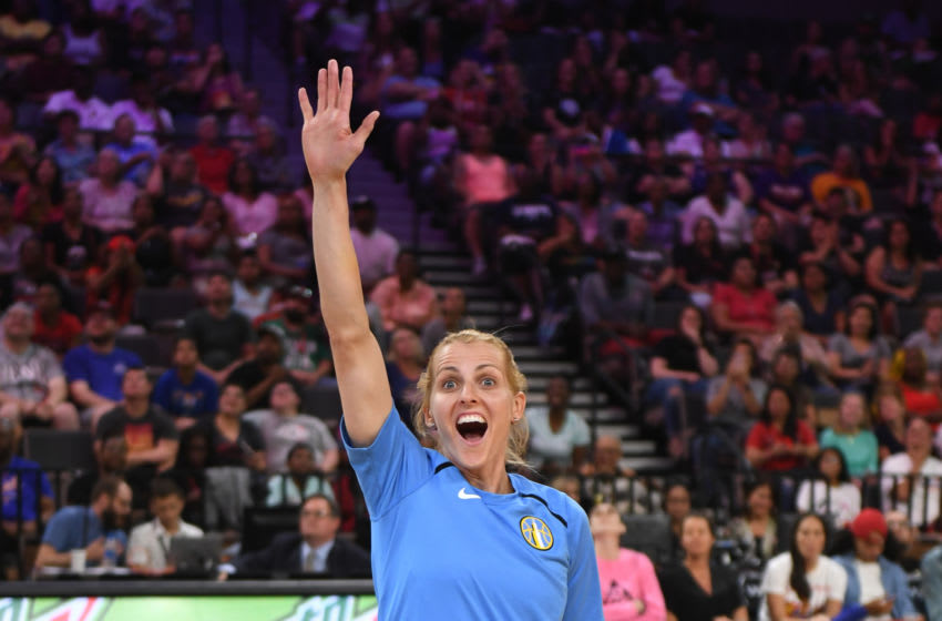LAS VEGAS, NEVADA - JULY 26: Allie Quigley of the Chicago Sky waves as she is introduced before competing during the 3-Point Contest of the WNBA All-Star Friday Night at the Mandalay Bay Events Center on July 26, 2019 in Las Vegas, Nevada. NOTE TO USER: User expressly acknowledges and agrees that, by downloading and or using this photograph, User is consenting to the terms and conditions of the Getty Images License Agreement. (Photo by Ethan Miller/Getty Images)