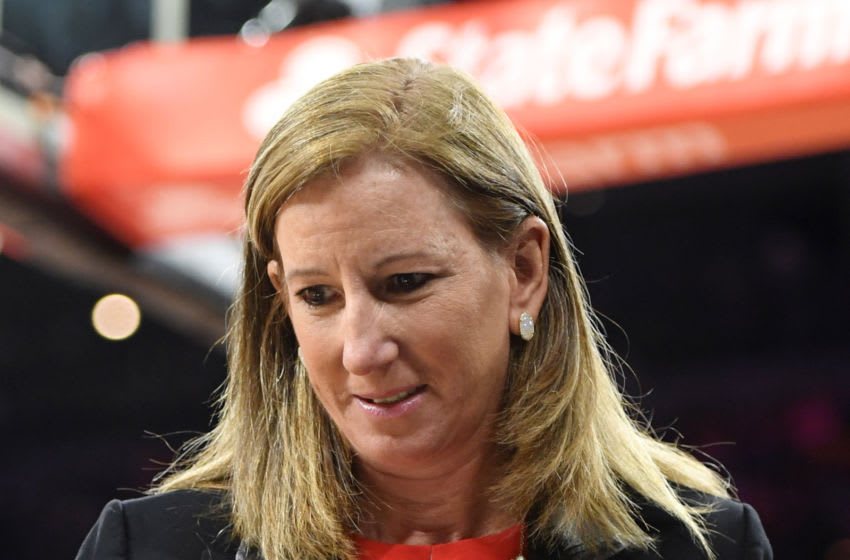 LAS VEGAS, NEVADA - JULY 27: WNBA Commissioner Cathy Engelbert walks on the court during the WNBA All-Star Game 2019 at the Mandalay Bay Events Center on July 27, 2019 in Las Vegas, Nevada. NOTE TO USER: User expressly acknowledges and agrees that, by downloading and or using this photograph, User is consenting to the terms and conditions of the Getty Images License Agreement. (Photo by Ethan Miller/Getty Images)