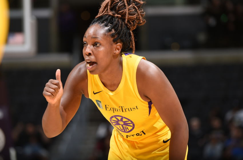 LOS ANGELES, CA - SEPTEMBER 3: Chelsea Gray #12 of Los Angeles Sparks reacts during the game against the Atlanta Dream on September 3, 2019 at the Staples Center in Los Angeles, California. NOTE TO USER: User expressly acknowledges and agrees that, by downloading and/or using this photograph, user is consenting to the terms and conditions of the Getty Images License Agreement. Mandatory Copyright Notice: Copyright 2019 NBAE (Photo by Adam Pantozzi/NBAE via Getty Images)