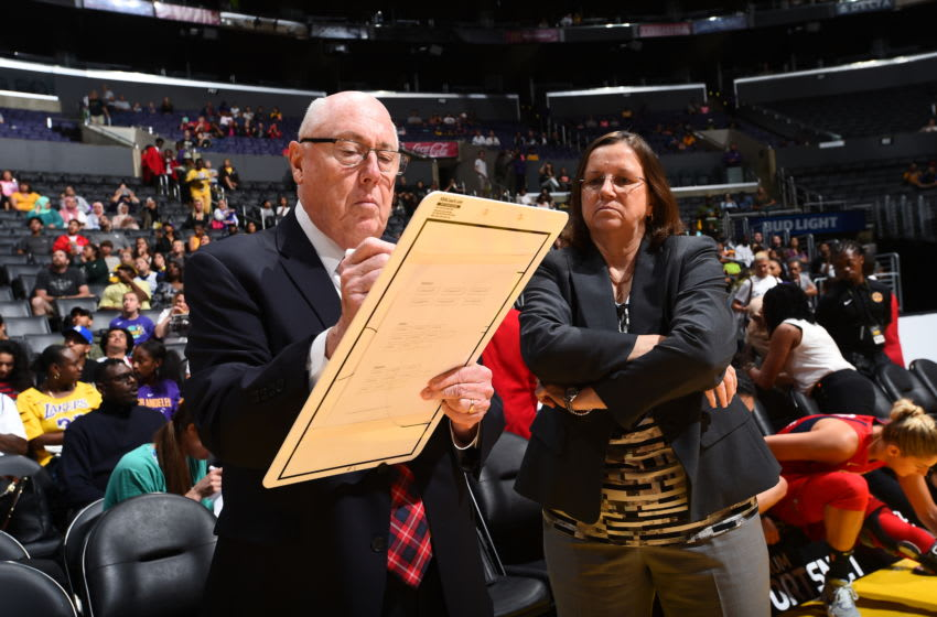 LOS ANGELES, CA - JULY 7: Head Coach Mike Thibault and Assistant Coach Marianne Stanley draw a play during the game against the Los Angeles Sparks on July 7, 2019 at the Staples Center in Los Angeles, California NOTE TO USER: User expressly acknowledges and agrees that, by downloading and or using this photograph, User is consenting to the terms and conditions of the Getty Images License Agreement. Mandatory Copyright Notice: Copyright 2019 NBAE (Photo by Juan Ocampo/NBAE via Getty Images)