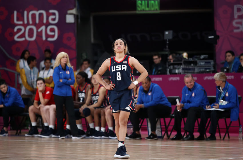 LIMA, PERU - AUGUST 10: Chennedy Carter of the United States stands on the court in the final minute of their loss to Brazil in the gold medal women's basketball game on Day 15 of Lima 2019 Pan American Games at Eduardo Dibós Coliseum on August 10, 2019 in Lima, Peru. (Photo by Ezra Shaw/Getty Images)