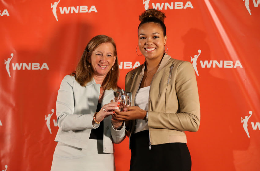 MINNEAPOLIS, MN - SEPTEMBER 16: WNBA Commissioner Cathy Engelbert pose for a photo with Napheesa Collier #24 of Minnesota Lynx after awarded the 2019 WNBA Rookie of the Year Award to her at the press conference on September 16, 2019 at the Minnesota Timberwolves and Lynx Courts at Mayo Clinic Square in Minneapolis, Minnesota. NOTE TO USER: User expressly acknowledges and agrees that, by downloading and or using this Photograph, user is consenting to the terms and conditions of the Getty Images License Agreement. Mandatory Copyright Notice: Copyright 2018 NBAE (Photo by David Sherman/NBAE via Getty Images)