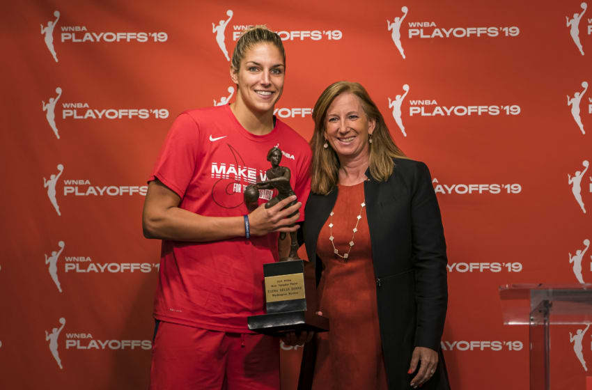 WASHINGTON, DC - SEPTEMBER 19: MNBA Commissioner Cathy Engelbert presents the 2019 WNBA Most Valuable Player trophy to Elena Delle Donne #11 of the Washington Mystics before Game Two of the 2019 WNBA playoffs against the Las Vegas Aces at St Elizabeths East Entertainment & Sports Arena on September 19, 2019 in Washington, DC. NOTE TO USER: User expressly acknowledges and agrees that, by downloading and or using this photograph, User is consenting to the terms and conditions of the Getty Images License Agreement. (Photo by Scott Taetsch/Getty Images)