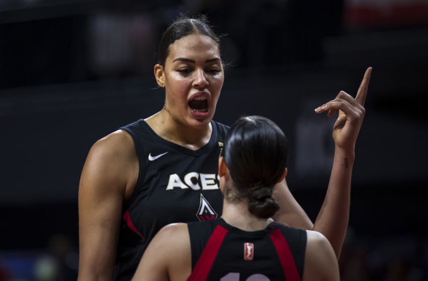 WASHINGTON, DC - SEPTEMBER 19: Liz Cambage #8 speaks with Kelsey Plum #10 of the Las Vegas Aces after a play against the Washington Mystics during the second half of Game Two of the 2019 WNBA playoffs at St Elizabeths East Entertainment & Sports Arena on September 19, 2019 in Washington, DC. NOTE TO USER: User expressly acknowledges and agrees that, by downloading and or using this photograph, User is consenting to the terms and conditions of the Getty Images License Agreement. (Photo by Scott Taetsch/Getty Images)