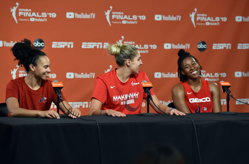 WASHINGTON, DC - SEPTEMBER 29: Kristi Toliver #20 of the Washington Mystics Elena Delle Donne #11 and Ariel Atkins #7 talk to the media after the game against the Connecticut Sun during Game One of the 2019 WNBA Finals on September 29, 2019 at the St. Elizabeths East Entertainment and Sports Arena in Washington, DC. NOTE TO USER: User expressly acknowledges and agrees that, by downloading and or using this photograph, User is consenting to the terms and conditions of the Getty Images License Agreement. Mandatory Copyright Notice: Copyright 2019 NBAE (Photo by Rich Kessler/NBAE via Getty Images)