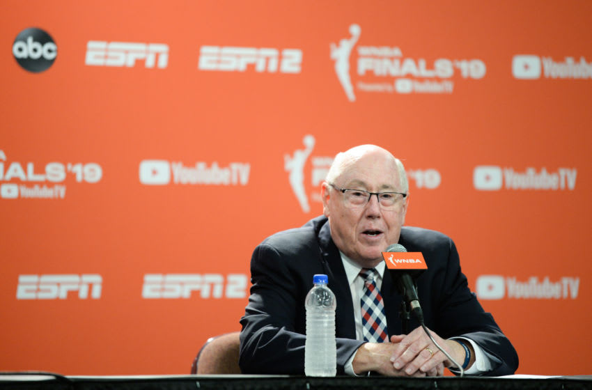 UNCASVILLE, CT - OCTOBER 6: Head coach Mike Thibault of the Washington Mystics speaks at a post-game news conference following Game 3 of the WNBA Finals at Mohegan Sun Arena on October 6, 2019 in Uncasville, Connecticut. The Mystics won 94-81 to go up 2-1 in the series. They lead the series, 2-1NOTE TO USER: User expressly acknowledges and agrees that, by downloading and or using this photograph, User is consenting to the terms and conditions of the Getty Images License Agreement. (Photo by Kathryn Riley/Getty Images)