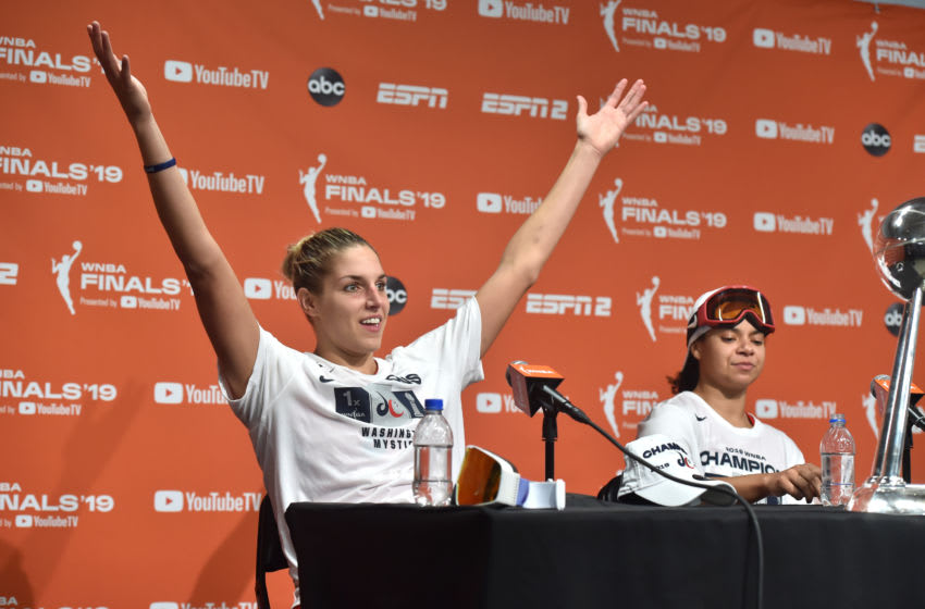 WASHINGTON, DC - OCTOBER 10: Elena Delle Donne #11 of the Washington Mystics talks at a press conference after winning the 2019 WNBA National Championship during Game Five of the 2019 WNBA Finals on October 10, 2019 at St Elizabeths East Entertainment & Sports Arena in Washington, DC. NOTE TO USER: User expressly acknowledges and agrees that, by downloading and or using this Photograph, user is consenting to the terms and conditions of the Getty Images License Agreement. Mandatory Copyright Notice: Copyright 2019 NBAE (Photo by Rich Kessler/NBAE via Getty Images)