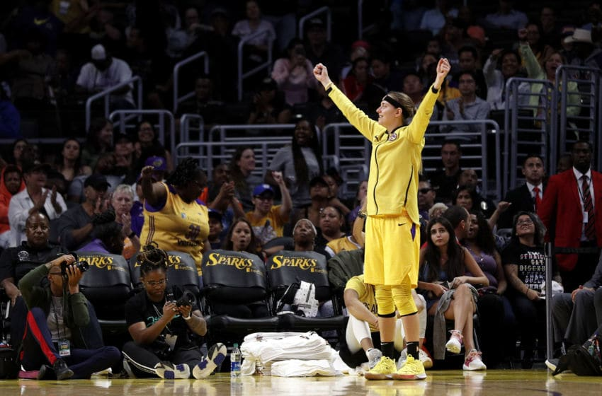 LOS ANGELES, CALIFORNIA - SEPTEMBER 05: Guard Sydney Wiese #24 of the Los Angeles Sparks reacts in the game against the Seattle Storm at Staples Center on September 05, 2019 in Los Angeles, California. NOTE TO USER: User expressly acknowledges and agrees that, by downloading and or using this photograph, User is consenting to the terms and conditions of the Getty Images License Agreement. (Photo by Meg Oliphant/Getty Images)