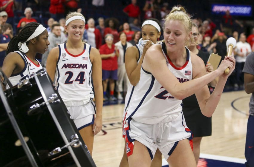 TUCSON, AZ - NOVEMBER 05: Arizona Wildcats forward Cate Reese (25) celebrates winning the game after a college women's basketball game between the North Dakota Fighting Hawks and the Arizona Wildcats on November 5, 2019, at McKale Center in Tucson, AZ. (Photo by Jacob Snow/Icon Sportswire via Getty Images)