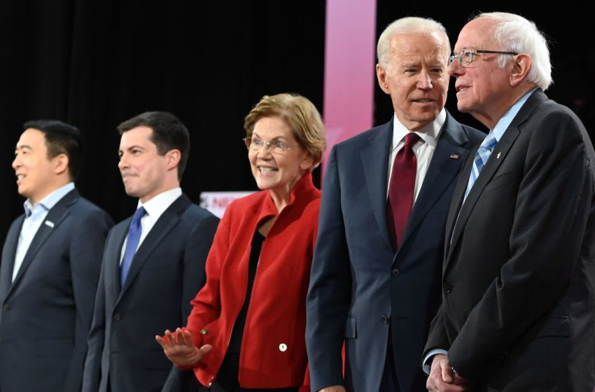 Democratic presidential hopefuls (fromL) entrepreneur Andrew Yang, Mayor of South Bend, Indiana Pete Buttigieg, Massachusetts Senator Elizabeth Warren, former Vice President Joe Biden and Vermont Senator Bernie Sanders arrive for the sixth Democratic primary debate of the 2020 presidential campaign season co-hosted by PBS NewsHour & Politico at Loyola Marymount University in Los Angeles, California on December 19, 2019. (Photo by Robyn Beck / AFP) (Photo by ROBYN BECK/AFP via Getty Images)