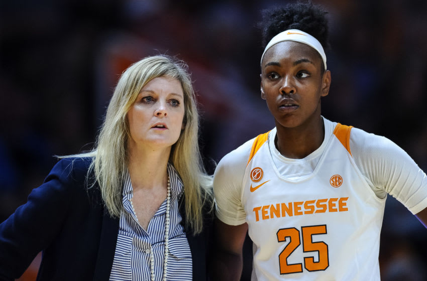 KNOXVILLE, TN - JANUARY 12: Tennessee Lady Vols head coach Kellie Harper talking with guard Jordan Horston (25) during a college basketball game against the Georgia Lady Bulldogs on January 12, 2020, at Thompson-Boling Arena in Knoxville, TN. (Photo by Bryan Lynn/Icon Sportswire via Getty Images)