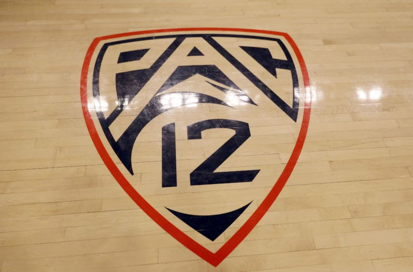 CORVALLIS, OREGON - FEBRUARY 15: The PAC 12 logo is seen on the court at Gill Coliseum prior to a game between the Oregon State Beavers and the Colorado Buffaloes on February 15, 2020 in Corvallis, Oregon. (Photo by Soobum Im/Getty Images)