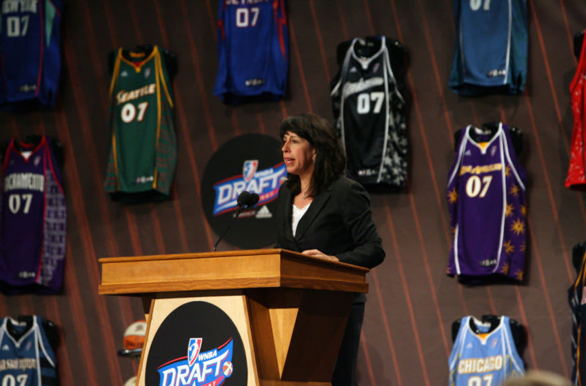 Donna Orender WNBA President at the 2007 WNBA Draft (Photo by Kelly Kline/Getty Images for Robinson Lerer and Montgomery)