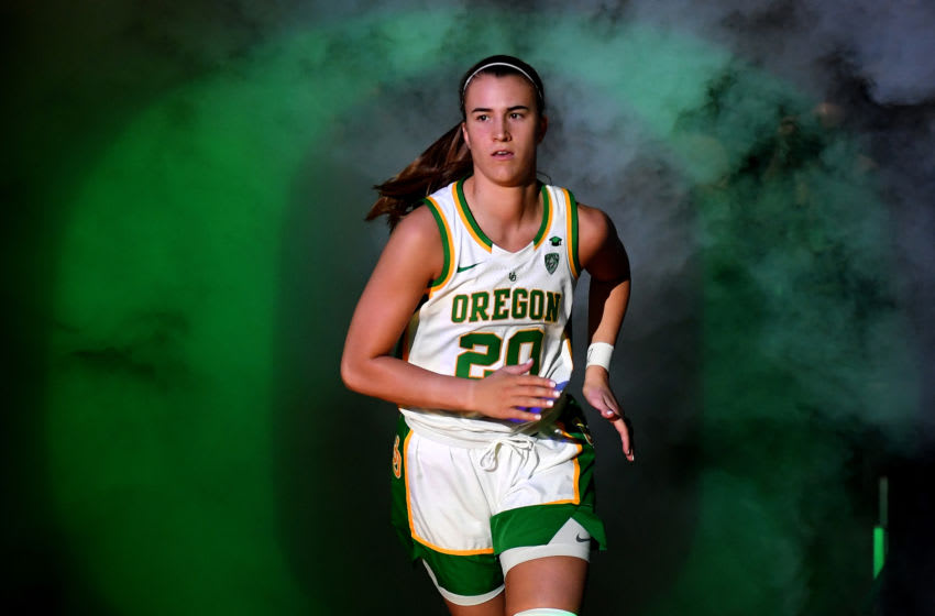 LAS VEGAS, NEVADA - MARCH 08: Sabrina Ionescu #20 of the Oregon Ducks is introduced before the championship game of the Pac-12 Conference women's basketball tournament against the Stanford Cardinal at the Mandalay Bay Events Center on March 8, 2020 in Las Vegas, Nevada. The Ducks defeated the Cardinal 89-56. (Photo by Ethan Miller/Getty Images)