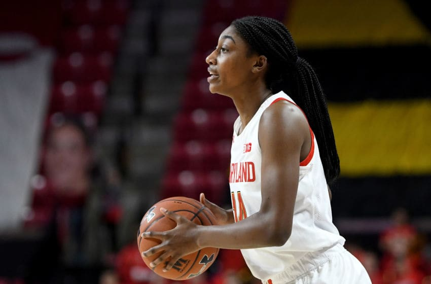 COLLEGE PARK, MD - FEBRUARY 09: Diamond Miller #14 of the Maryland Terrapins handles the ball against the Rutgers Scarlet Knights at Xfinity Center on February 9, 2020 in College Park, Maryland. (Photo by G Fiume/Maryland Terrapins/Getty Images)