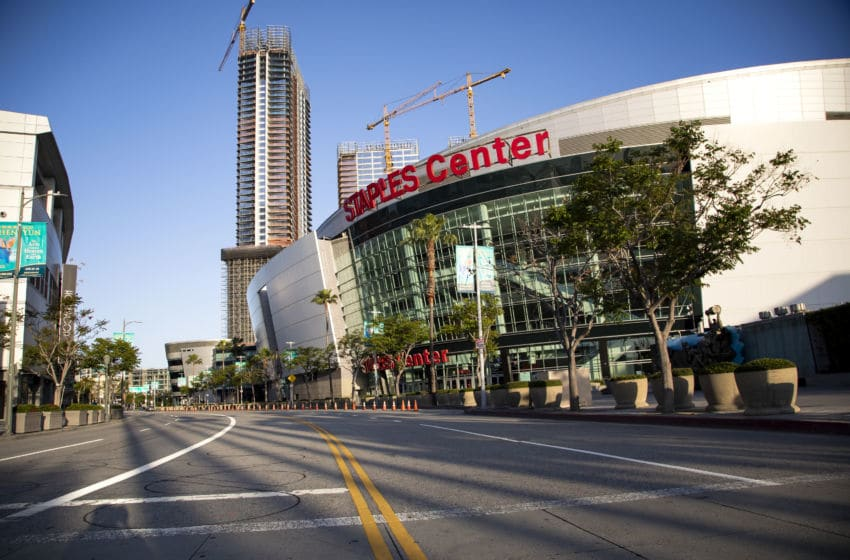 LOS ANGELES, CALIFORNIA - APRIL 21: The empty streets outside the Staples Center at LA Live on April 21, 2020 in Los Angeles, California. COVID-19 has spread to most countries around the world, claiming over 170,000 lives and infecting over 2.5 million people. (Photo by Tibrina Hobson/Getty Images)