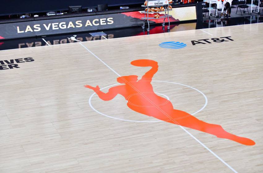 PALMETTO, FLORIDA - SEPTEMBER 20: A general view of the WNBA logo is seen on the court before Game One of the Third Round playoff between the Las Vegas Aces and the Connecticut Sun at Feld Entertainment Center on September 20, 2020 in Palmetto, Florida. NOTE TO USER: User expressly acknowledges and agrees that, by downloading and or using this photograph, User is consenting to the terms and conditions of the Getty Images License Agreement. (Photo by Julio Aguilar/Getty Images)