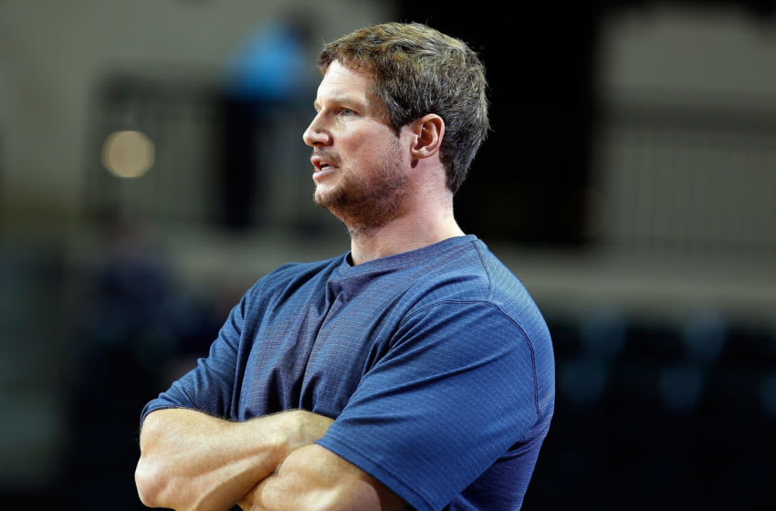 TAMPA, FL - DECEMBER 05: Head coach Karl Smesko of the Florida Gulf Coast Eagles directs his team against the South Florida Bulls during the game at the Sun Dome on December 5, 2012 in Tampa, Florida. (Photo by J. Meric/Getty Images)