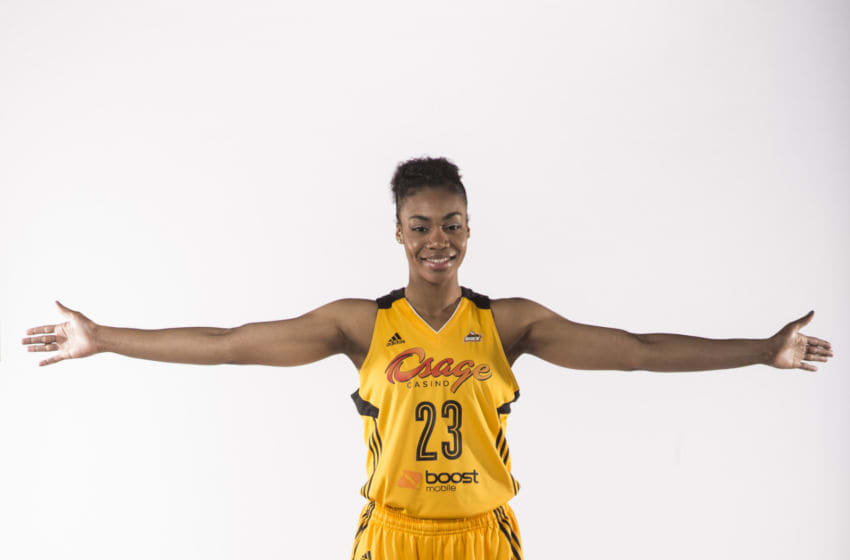 TULSA, OK - MAY 8: Ariel Edwards #23 of the Tulsa Shock poses for a portrait during the Tulsa Shock WNBA Media Day on May 8, 2014 at the BOK Center in Tulsa, Oklahoma. NOTE TO USER: User expressly acknowledges and agrees that, by downloading and or using this photograph, User is consenting to the terms and conditions of the Getty Images License Agreement. Mandatory Copyright Notice: Copyright 2014 NBAE (Photo by Shane Bevel/NBAE via Getty Images)