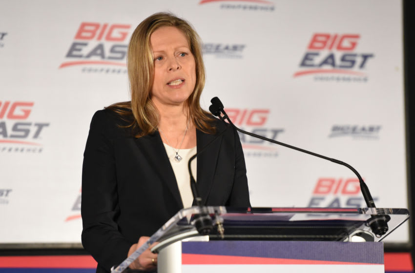 NEW YORK, NY - OCTOBER 14: Commissioner Val Ackerman addresses the media during the Big East Men's & Women's Basketball Media Day at Madison Square Garden on October 14, 2015 in New York, New York. (Photo by Mitchell Layton/Getty Images)