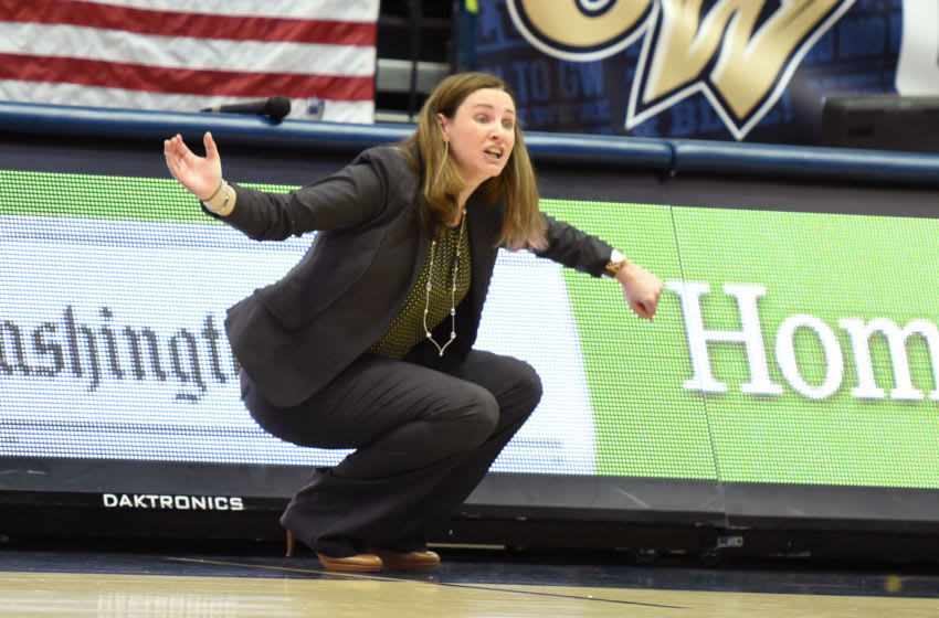 WASHINGTON, DC - FEBRUARY 20: Head coach Beth O'Boyle of the Virginia Commonwealth Rams reacts to call during a women's college basketball game against the George Washington Colonials at the Smith Center on February 20, 2016 in Washington, DC. The Rams won 79-68. (Photo by Mitchell Layton/Getty Images)