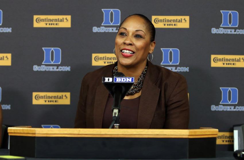 25 November 2014: Buffalo head coach Felisha Legette-Jack. The Duke University Blue Devils hosted the State University of New York Buffalo Bulls at Cameron Indoor Stadium in Durham, North Carolina in a 2014-15 NCAA Division I Women's Basketball game. Duke won the game 88-54. (Photo by Andy Mead/YCJ/Icon Sportswire/Corbis via Getty Images)
