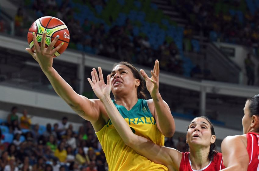 Australia's centre Elizabeth Cambage goes to the basket during a Women's quarterfinal basketball match between Australia and Serbia at the Carioca Arena 1 in Rio de Janeiro on August 16, 2016 during the Rio 2016 Olympic Games. / AFP / Mark RALSTON (Photo credit should read MARK RALSTON/AFP/Getty Images)