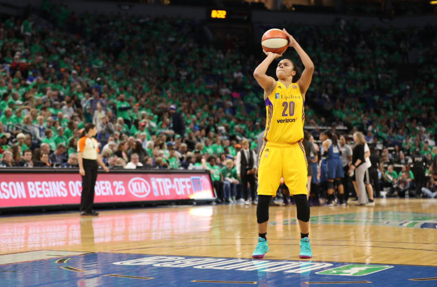 MINNEAPOLIS, MN - OCTOBER 20: Kristi Toliver #20 of the Los Angeles Sparks shoots a free throw against the Minnesota Lynx during Game Five of the 2016 WNBA Finals on October 20, 2016 at Target Center in Minneapolis, Minnesota. NOTE TO USER: User expressly acknowledges and agrees that, by downloading and or using this photograph, user is consenting to the terms and conditions of the Getty Images License Agreement. Mandatory Copyright Notice: Copyright 2016 NBAE (Photo by Jordan Johnson/NBAE via Getty Images)