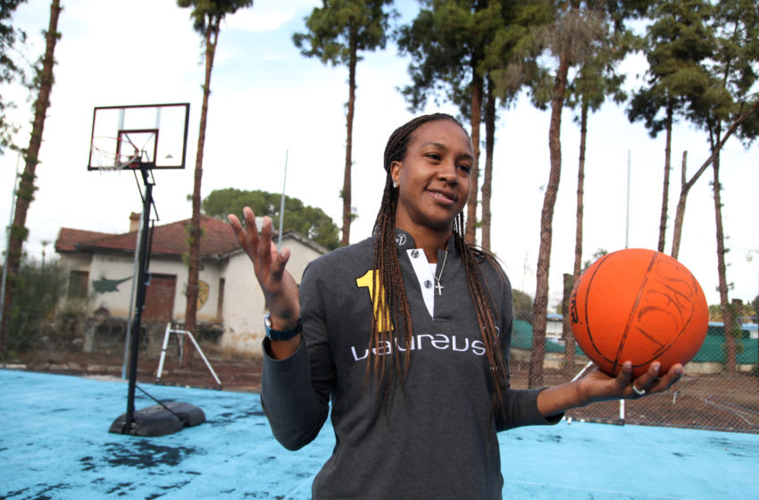 NICOSIA, CYPRUS - NOVEMBER 30: Laureus Ambassador Tamika Catchings during the visit to PeacePlayers of the IWC drawing competition in Nicosia's UN Buffer Zone on November 30, 2016 in Nicosia, Cyprus. (Photo by Yiorgos Doukanaris/Getty Images for Laureus)